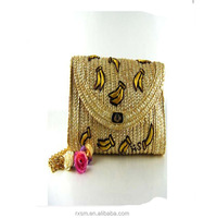 2015 New Style Lady bag Cherry&Banana Pattern Beach bag Straw bag Rattan weave Pastoral style