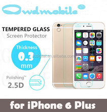 Factory Wholesales 0.3mm 99% transparency 2.5D Tempered Glass Screen Protector for iphone6