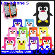 Silicone Case for iPhone 5,For iPhone 5 Cute 3D Penguin Animal Case