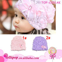 Hot sales!lovely two colors with flower wholesale lace baby hats