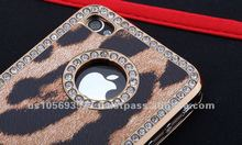 Leopard print leather with rhinestone mobile phone case cover for iphone4g/4s