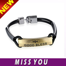 2 layer leather band good bless charm Christian bracelet