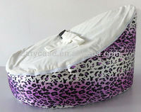 Baby Kids Portable Bean Bag Seat with white Soft Top and Leopard Print Bottom, Fashion hotsell purple beanbag sofa chair