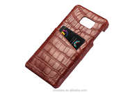 Crocodile Pattern Genuine Leather credit Card Back Cover Case For Samsung Galaxy Note 5