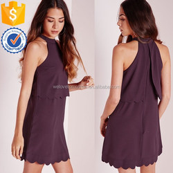 China wholesale women alibaba supplier halter neckline scallop layered swing dress