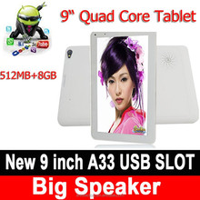 "New 9"" Inch HD Capacitive Screen Quad Core A33 512MB 8GB NFC Android 4.4 Tablet PC"