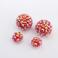 Fashion Candy Color Sweet Wild Earring Double Side Ball Sud Earrings Crystal Resin Alloy Two Faced Stud Earrings For Women E685
