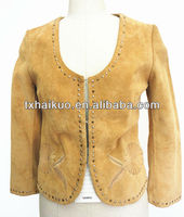 2013 latest pig sude leather jacket for women