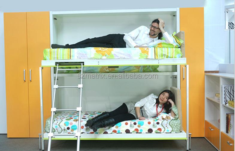 Hoge kwaliteit wand stapelbedden ruimtebesparend murphy muur stapelbedden kinderen muur - Kleur muur slaapkamer kind ...