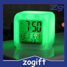 ZOGIFT Glowing LED Color Change Digital Alarm Mood Clock, Multifunction music led Colourful clock,7 colour clock