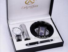 Latest Leather Mens Watch Gift +Belt+Pen GFAA8014