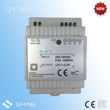 CE ROHS 30w din rail SN-30-12 single output ac/dc adapter, 2.5a din rail led transformer with 2 years warranty