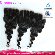 3x3 silk base 3 part closure American WIG toupee for top of head natural lace color hair piece peruvian loose wave closure