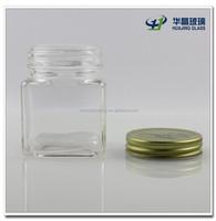 High quality square shape candy glass jar glass Christmas sweets jar with metal lid