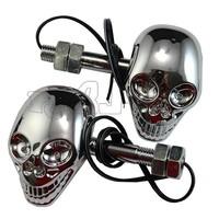 BJ-SL-015 Wholesale Super bright 4LED 12V Universal Skeleton Skull Head LED LED motorcycle indicator turn signal lights flasher