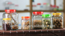 Square Glass Canister Set with Plastic Lid / Clear Glass Storage Jar Set with Colorful Lid