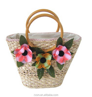 Three Flowers style Straw bag New style Magazine Shoulder bag Corn husks Weave