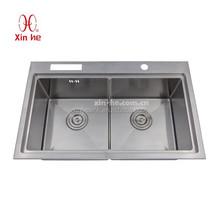 Top grade 18 GA 304 stainless steel handmade kitchen sink,stainless steel topmount drainboard kitchen sink