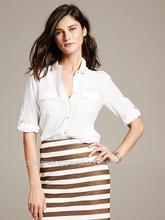 Patrimonio con punta blanco blusa de seda