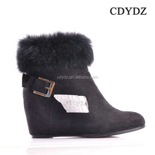 CDYDZ R980-52949 winter Snow frosted buckle side zipper fur fashion wedge heel ankle shoes boots Women short Boot 2015