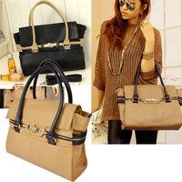 Ladies Stylish bags PU Leather bag 2013 Turn-Lock Clasp Handbag Totes Satchel Shoulder Bag