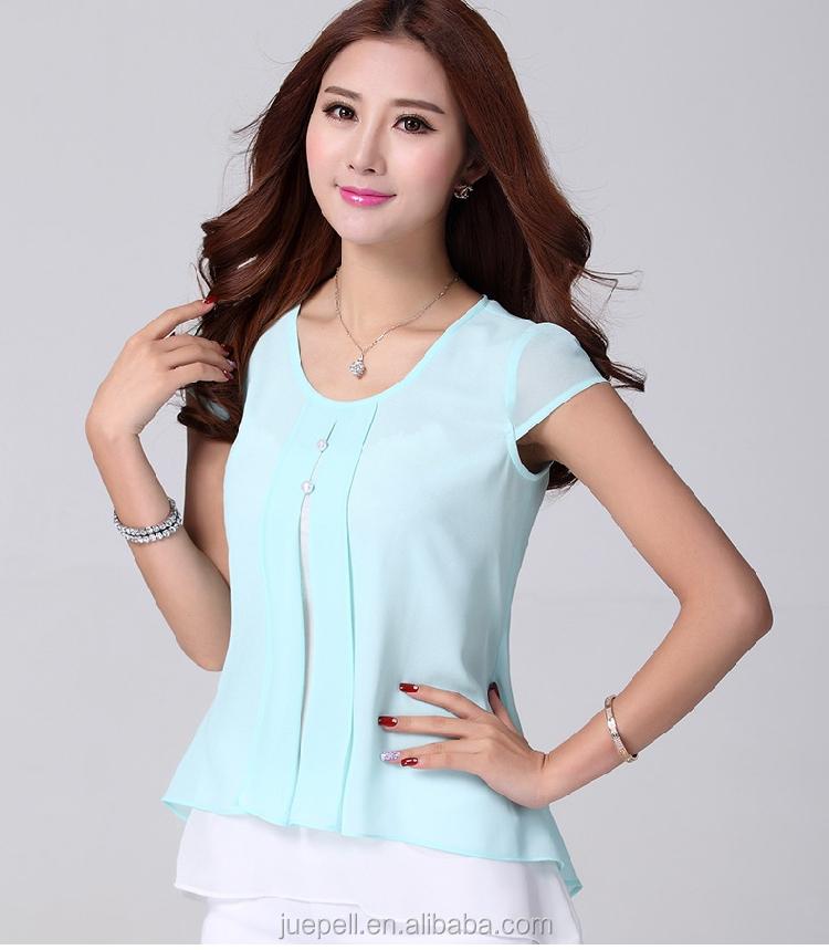 40ef2be62 2015 nueva moda para mujer ruffles manga corta verano camisas de la gasa blusa  de la
