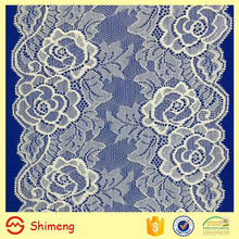 16 cm width ivory rose pattern stretch wedding lace trim
