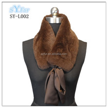 detachable genuine silk ribbon ladies fashion real rex rabbit fur collar and fur scarf for winter coat and leather jacket