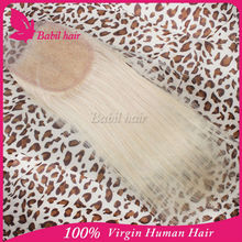 6a grade 100% human hair natural color 613 blonde lace closure