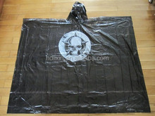 Brand Promotional nice poncho raincoat with logo , disposable emergency poncho raincoat in black