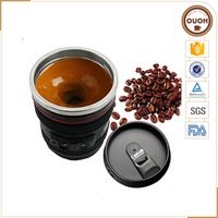 Eco-friendly Plastic and Stainless Steel Camera Lens Shaped Auto Stirring Mug for Coffee