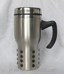 Double wall stainless steel mug ribbed with handle