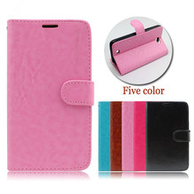 Crystal crazy horse grain pattern with card slot pu leather case flip cover for LG G Vista 2