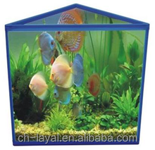1.3gallon desktop glass fish tank with top and bottom cover