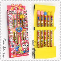 2012 hot sales 7inch hot transfer parinting cartoon pencil set with eraser top 5 pieces gift stationery set