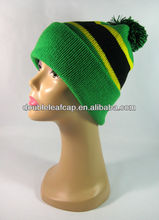 Custom new design knitted pom beanie knit hat with ball top