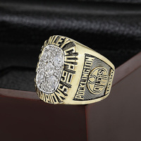SJ SJMC068 Latest Fashion NHL 1990 EDMONTON OILERS STANLEY CUP Championship Replica Ring with Wooden Box