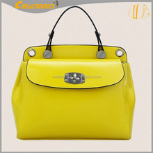 2015 China Solid Leather Yellow Color Women Single Shoulder Handbag
