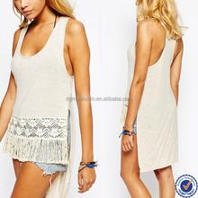 2015 hot selling romantic girls beach wear crochet fringe beach tops
