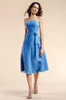 Absorbing Strapless A Line Tea Length Chiffon Flower Ice Blue Bridesmaid Dresses