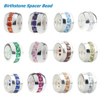 Wholesale 12 Colors Sparkling Birthstone CZ Crystal Spacers Bead 925 Sterling Silver Charm for European Bracelet