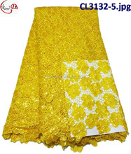 2016 hot sales sequinse net embrodiery french lace fabric cl3132