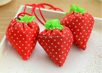 Lovely Strawberry Foldable Shopping Bag Cheap Polyester Collapsible Shopping Bags