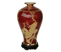 Chinese Traditional Handicraft Luxury Gilt Tin Inlay Porcelain Vase
