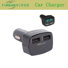 Newest 12v car charger socket with dual ports LED display voltage current temperature detection