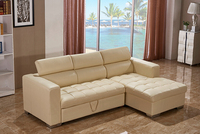 Modern Beige Color Elegant L Shape Sofa Cum Bed Living Room Leather Sofa Cum Bed