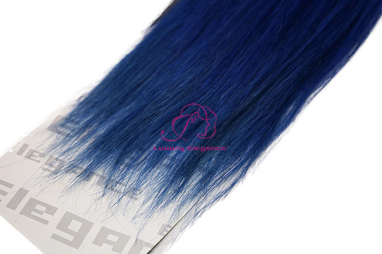 Dark Blue Color Yaki Hair Extensions Brazilian Human Hair Wefts For