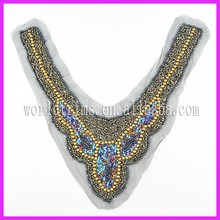 Hot sell handmaded beaded front sexy neck design of blouse WTA192