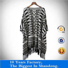 young ladies jacquard casual batwing sleeves sweater with tassels