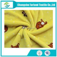 Bear Printed Yellow Color fabric Coral Fleece Blanket fabric